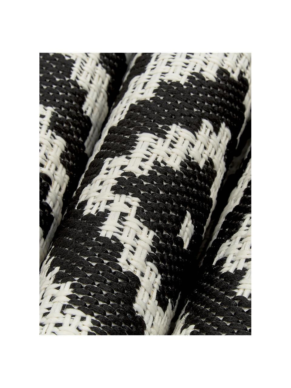 Passatoia fantasia nera/bianca da interno-esterno Miami, 86% polipropilene, 14% poliestere, Bianco crema, nero, Larg. 80 x Lung. 250 cm