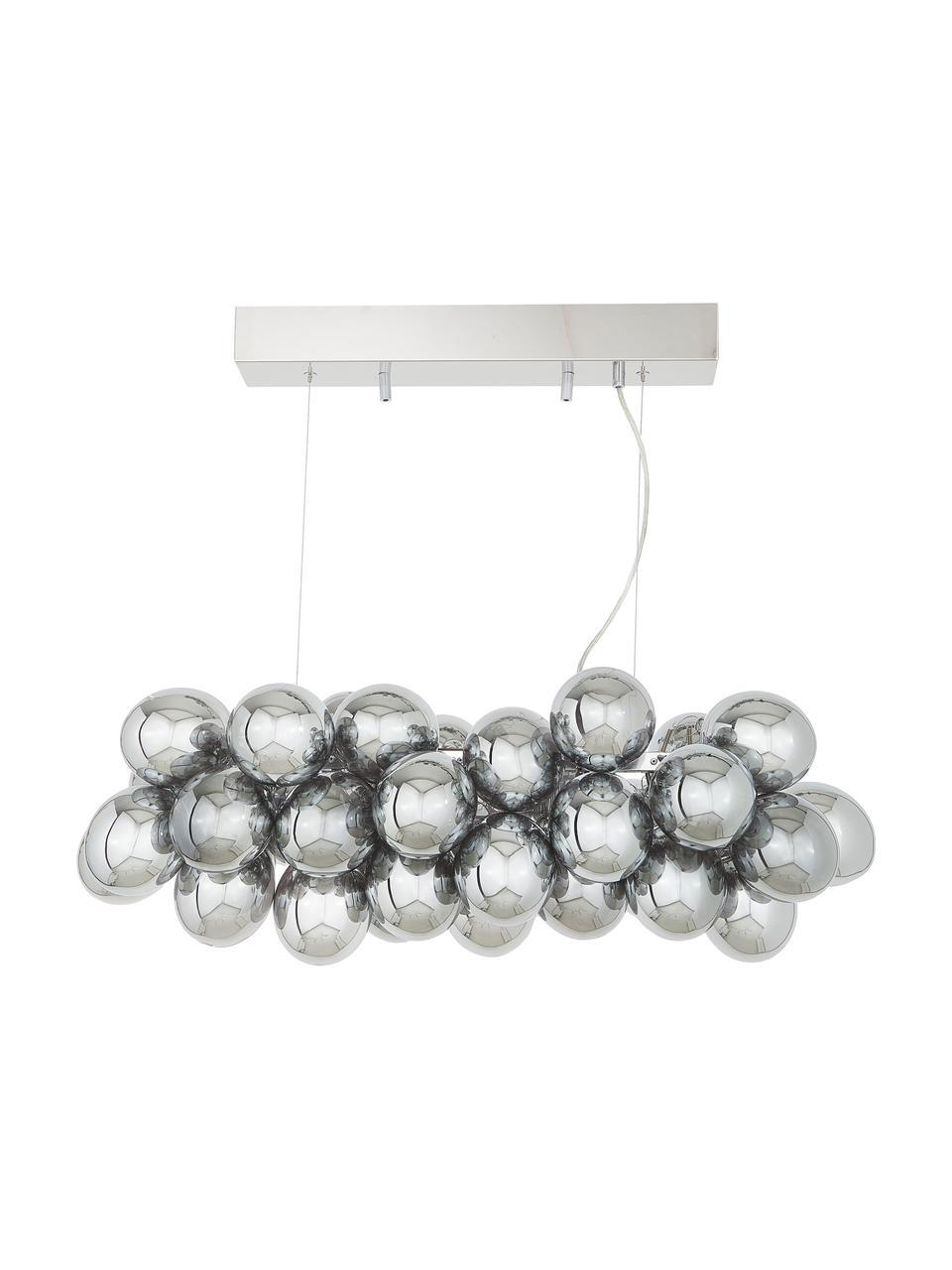 Grande suspension design grappe à sphères multiples en verre chromé Gross Bar, Chrome