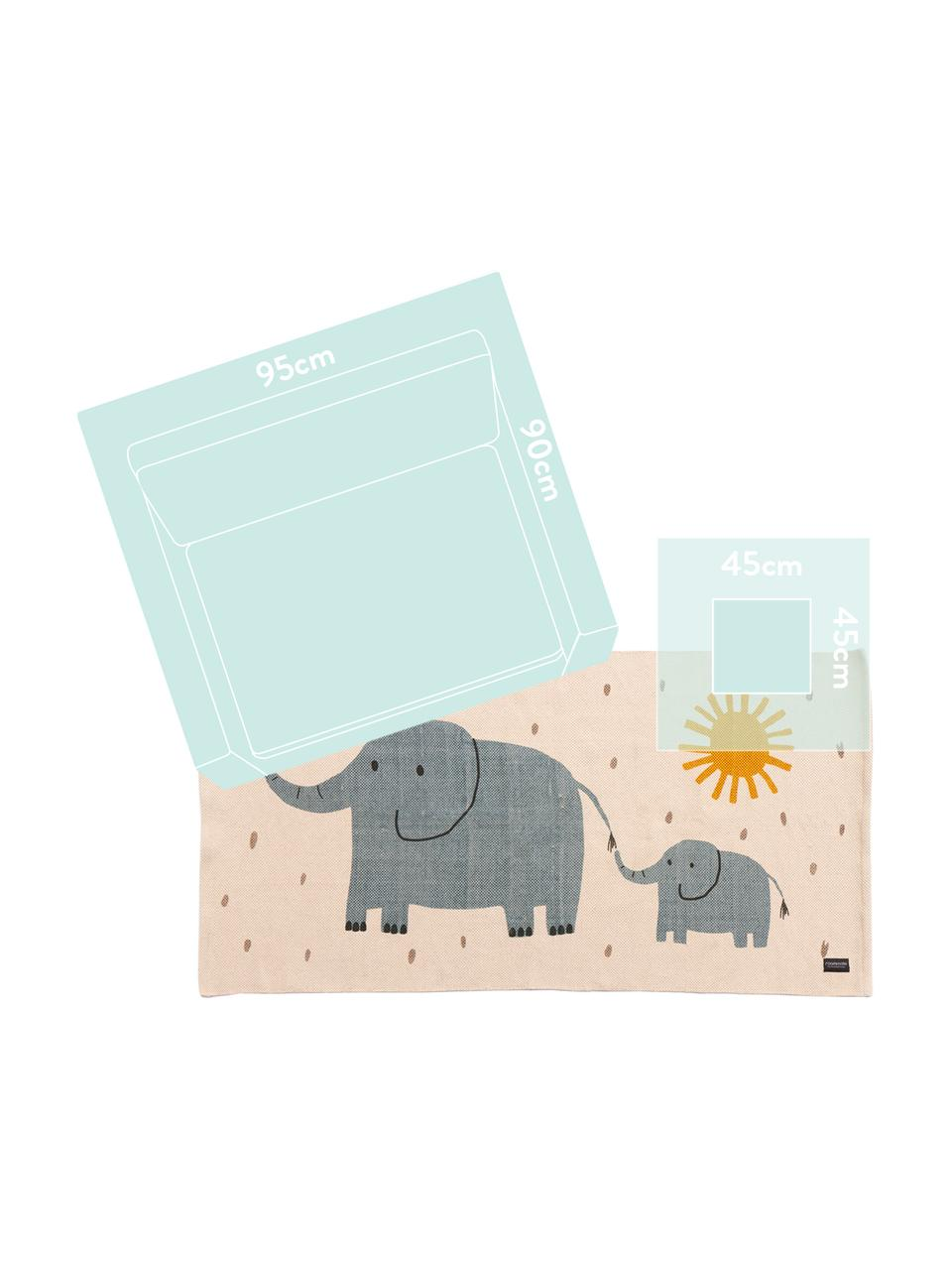 Teppich Elephant, Baumwolle, Öko-Tex-zertifiziert, Gebrochenes Weiß, 70 x 140 cm