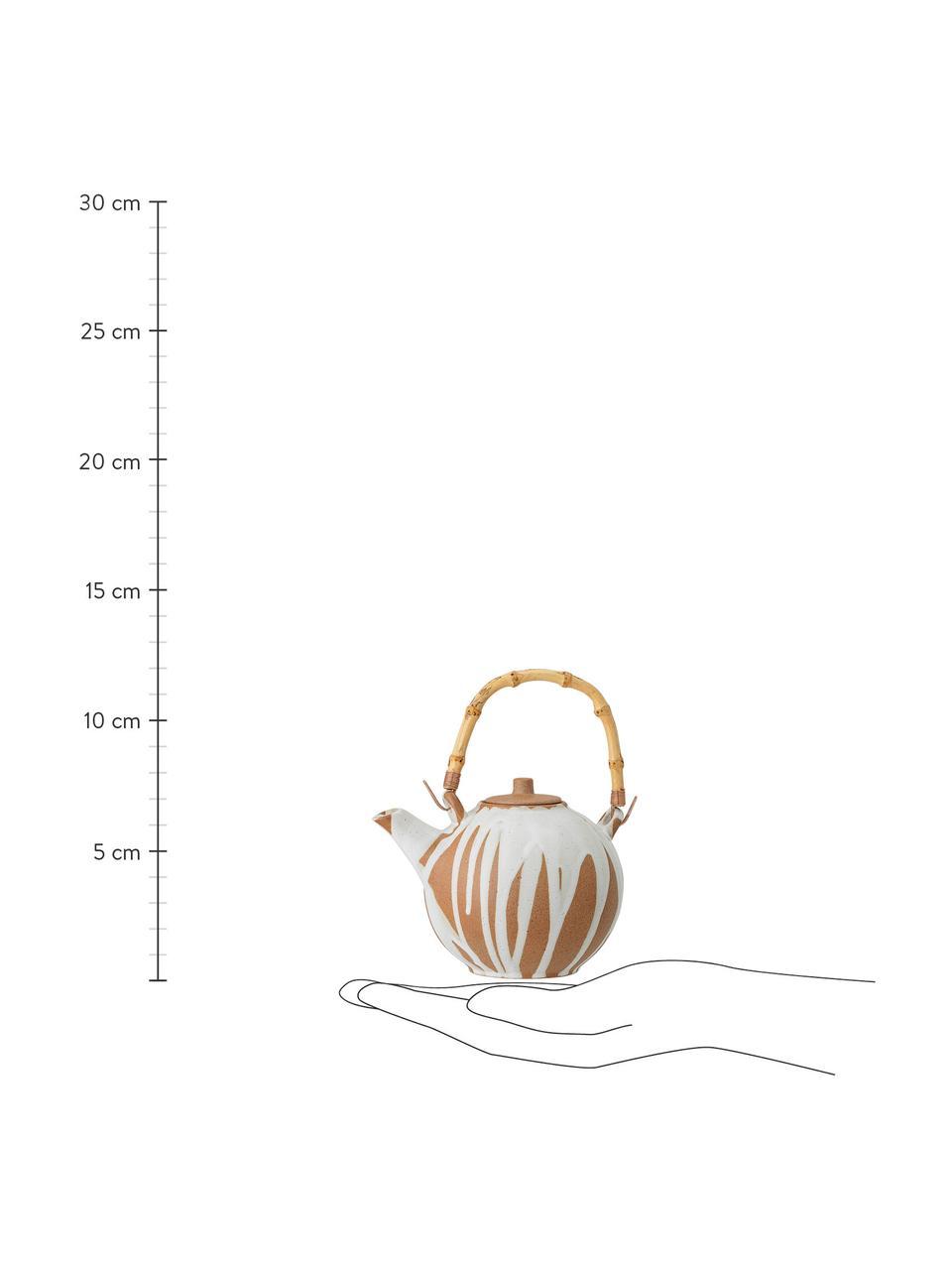Handgemachte Steingut Teekanne Camellia mit Bambusgriff, 800 ml, Kanne: Steingut, Griff: Bambus, Sieb: Edelstahl, Weiß, Terracotta, 800 ml