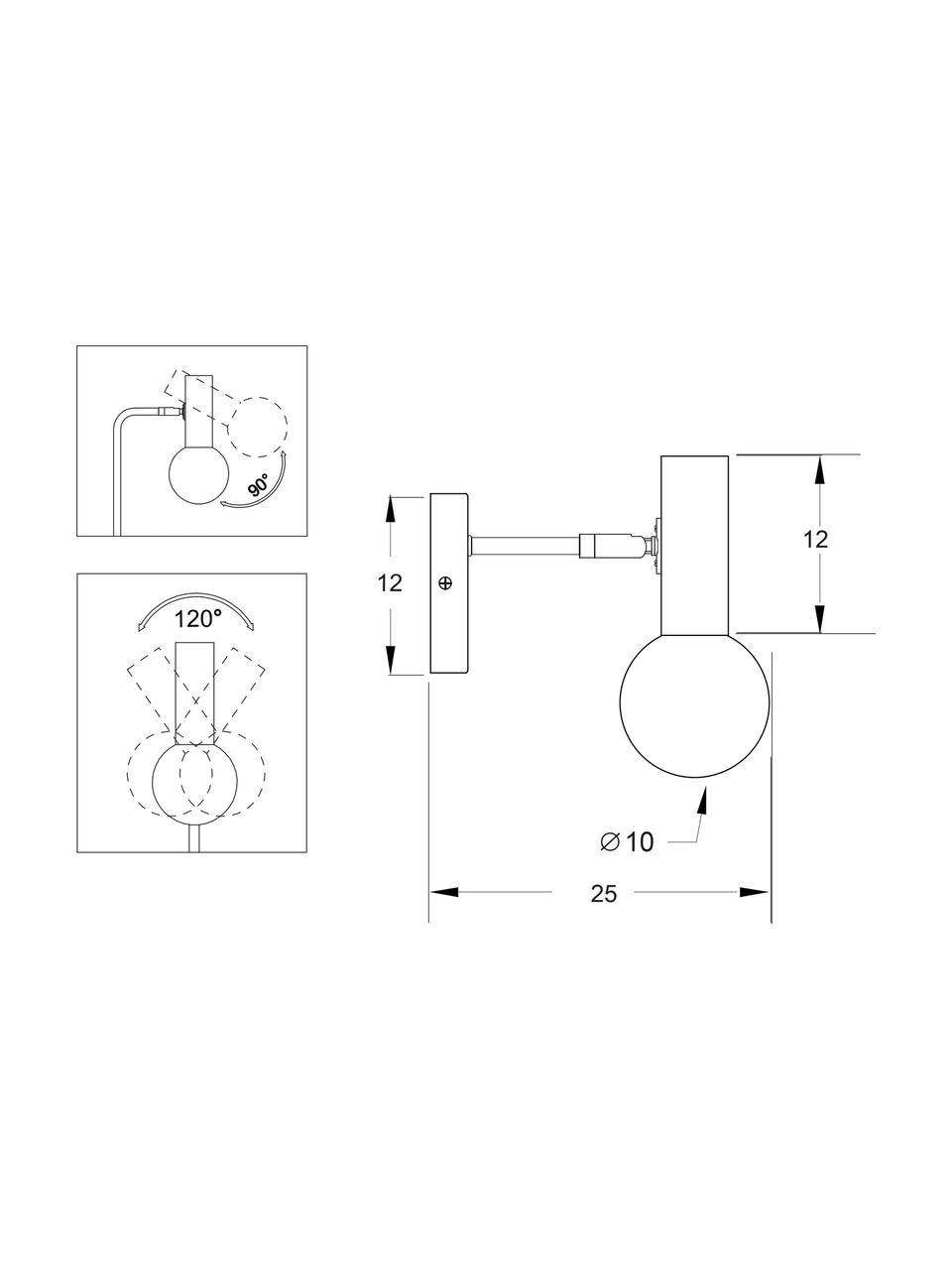 Wandleuchte Wilson mit Glasschirm, Lampenschirm: Opalglas, Schwarz, 10 x 22 cm