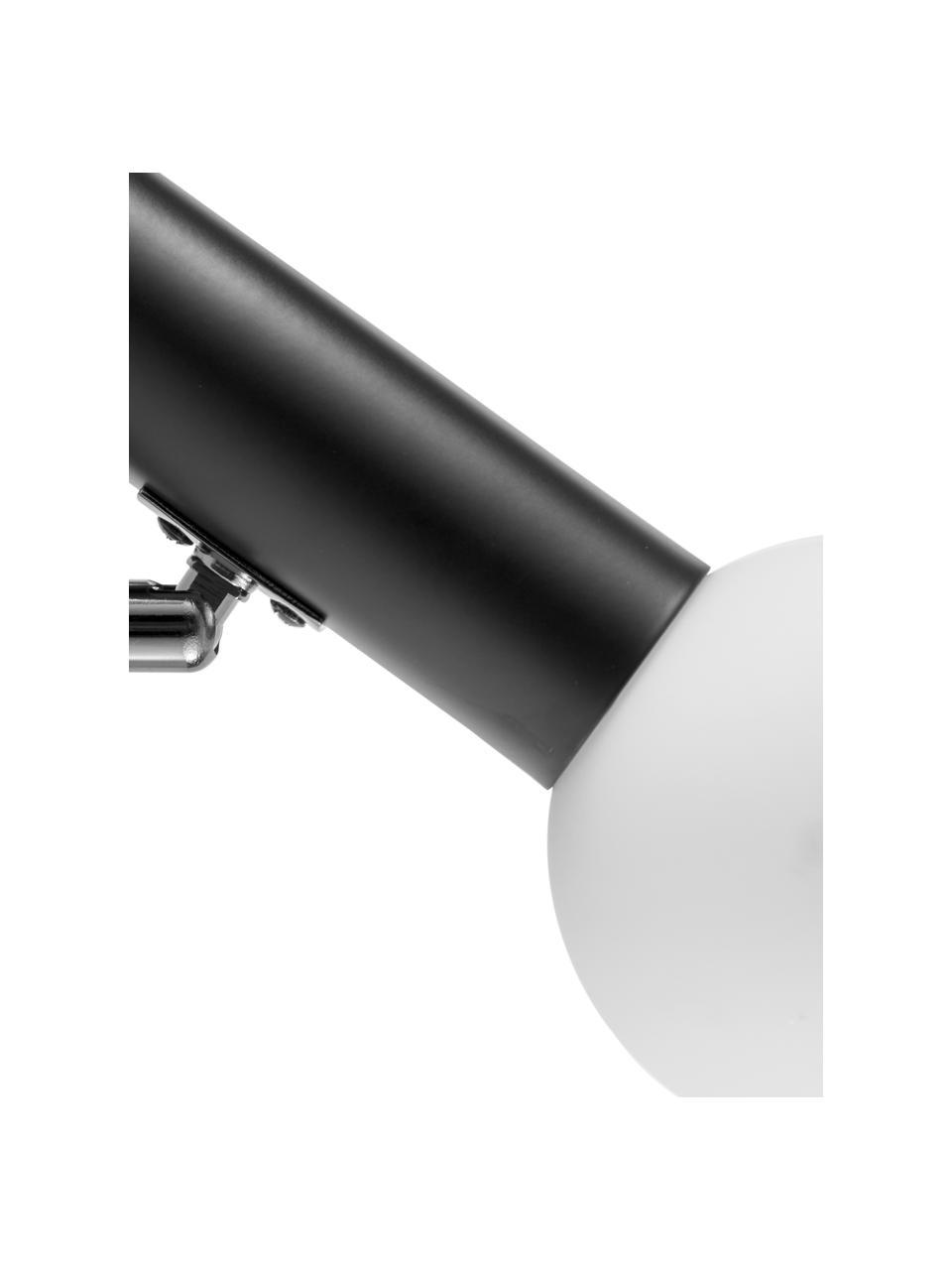 Applique con paralume in vetro Wilson, Struttura: metallo verniciato a polv, Paralume: vetro, Nero, Larg. 10 x Alt. 22 cm