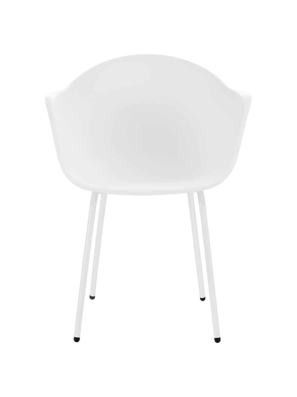 Gartenstuhl Claire in Weiß, Sitzschale: 65% Kunststoff, 35% Fiber, Beine: Metall, pulverbeschichtet, Weiß, B 60 x T 54 cm