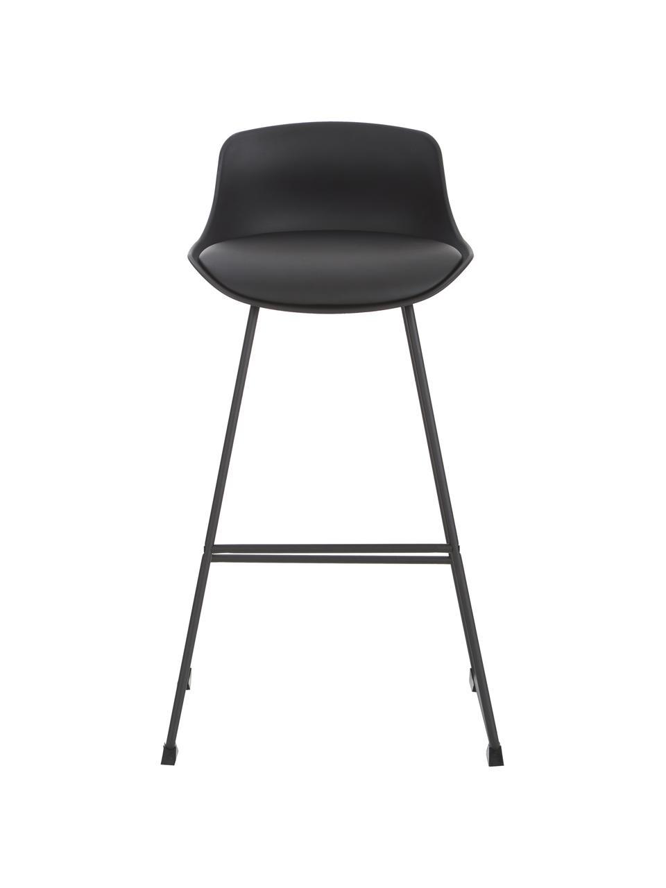 Kunstleder-Barstühle Tina in Schwarz, 2 Stück, Bezug: Kunstleder (Polyurethan), Beine: Metall, pulverbeschichtet, Schwarz, 49 x 94 cm