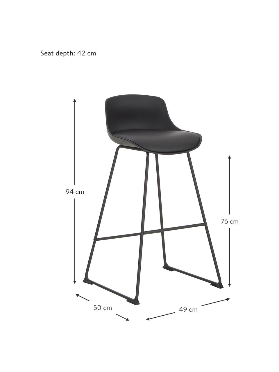 Sedia da bar in similpelle Tina 2 pz, Rivestimento: similpelle (poliuretano), Gambe: metallo verniciato a polv, Nero, Larg. 49 x Prof. 94 cm