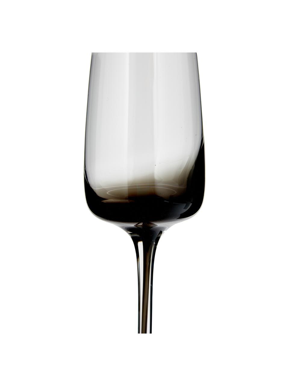 Ručně foukaná sklenice na šampaňské Smoke, 4 ks, Transparentní se šedým odstínem