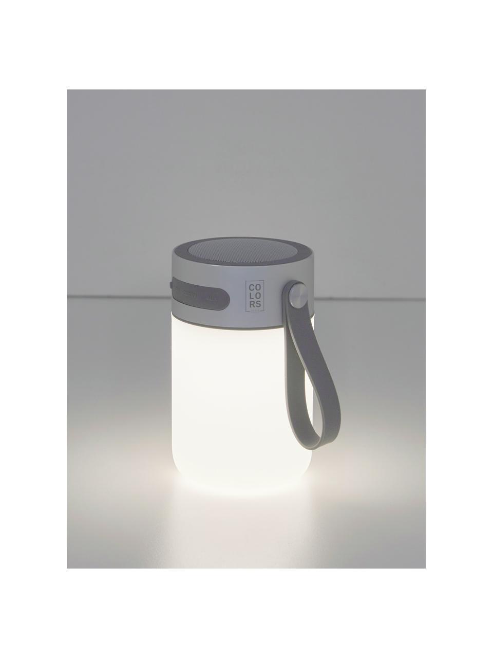 Mobile Dimmbare Tischlampe Sound Jar mit Lautsprecher, Lampenschirm: Kunststoff, Griff: Kunststoff, Silberfarben, Weiß, Ø 9 x H 14 cm