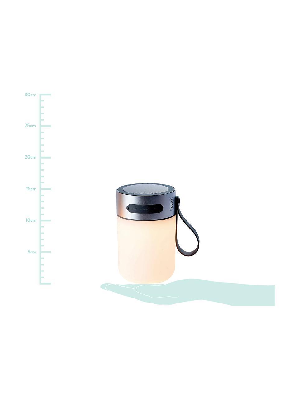Lampe d'extérieur LED mobile avec enceinte, intensité variable Sound Jar, Couleur argentée, blanc