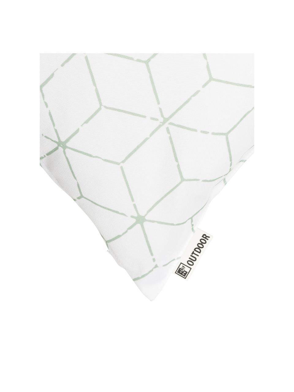 Outdoor-Kissen Cube mit grafischem Muster in Salbeigrün/Weiß, mit Inlett, 100% Polyester, Weiß, Grün, 47 x 47 cm