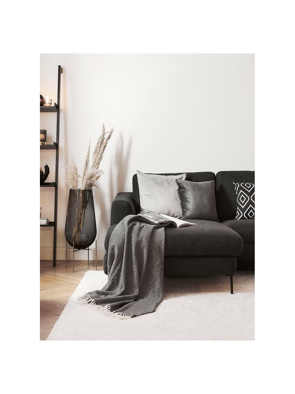 Wolldecke Aubrey mit feinem Zickzack-Muster, 80% Merinowolle, 20% Nylon, Anthrazit, Gebrochenes Weiß, 140 x 200 cm