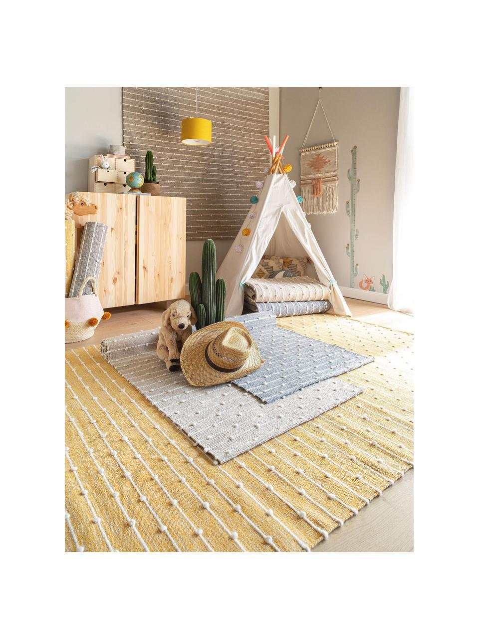 Handgewebter Baumwollteppich Lupo in Grau/Beige, 80% Baumwolle, 20% Wolle, Grau, B 120 x L 170 cm (Größe S)