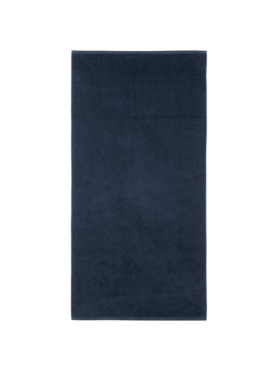 Set 3 asciugamani in tinta unita Comfort, Blu scuro, Set in varie misure
