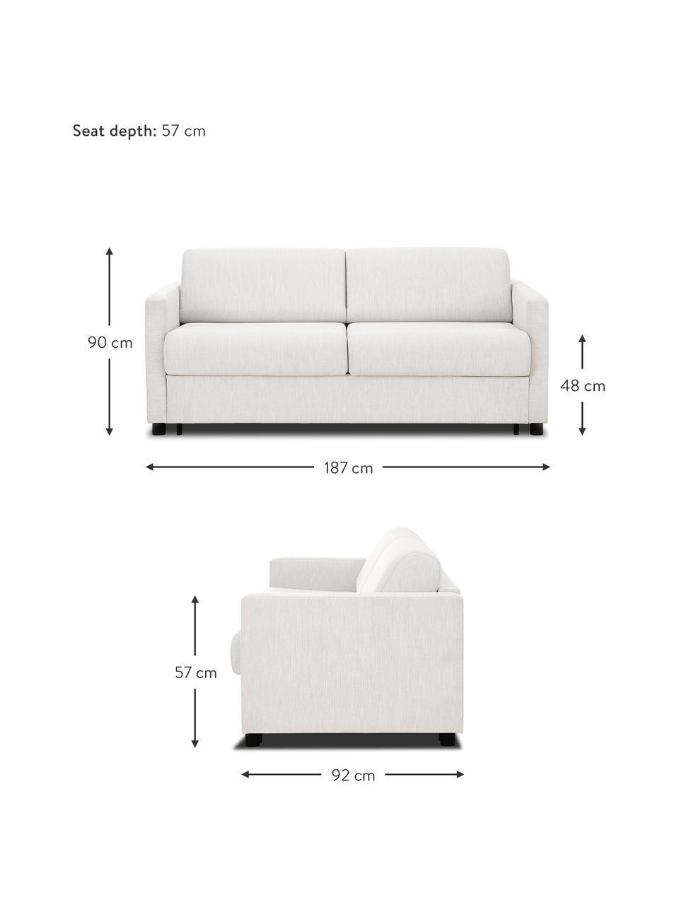 Schlafsofa Morgan (2-Sitzer) in Beige mit Matratze, Bezug: 100% Polyester Der hochwe, Füße: Massives Kiefernholz, lac, Webstoff Beige, B 187 x T 92 cm