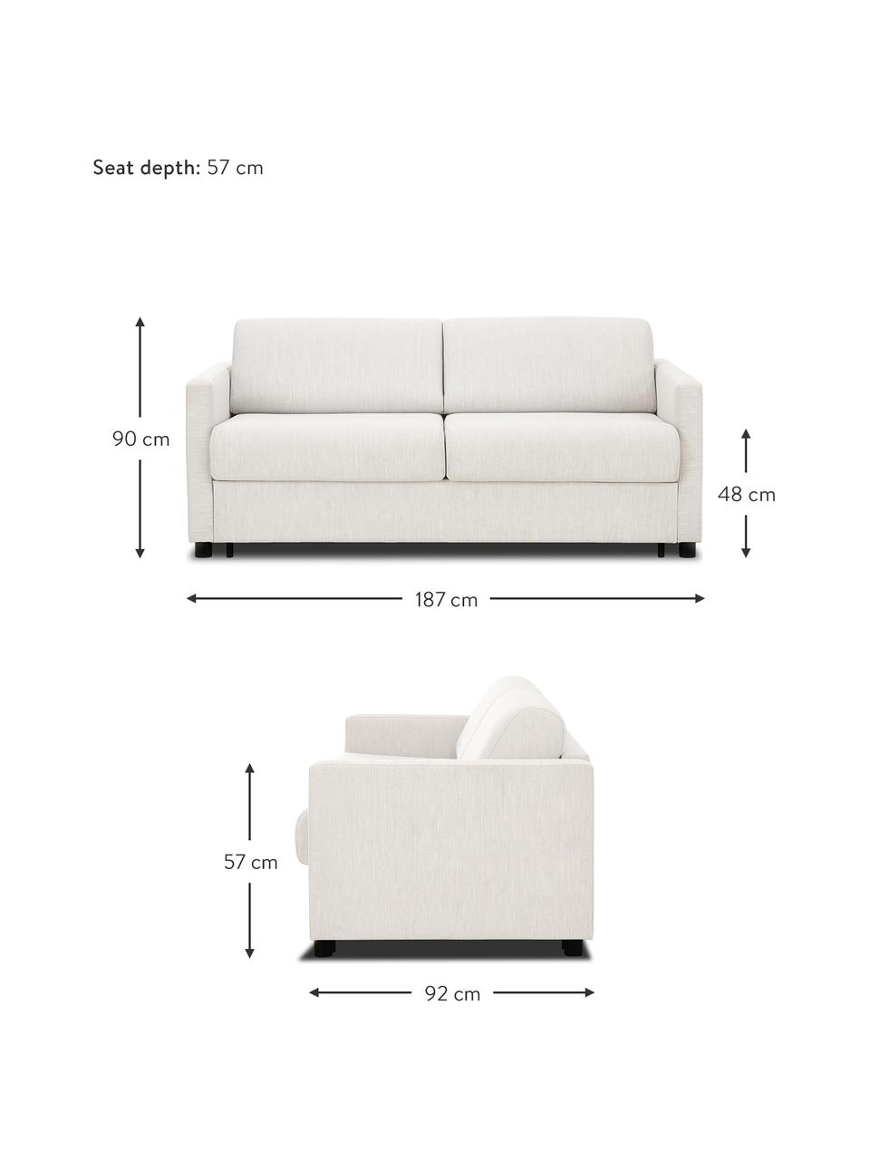 Sofa rozkładana z materacem Morgan (2-osobowa), Tapicerka: 100% poliester Dzięki tka, Nogi: lite drewno sosnowe, laki, Beżowy, S 187 x G 92 cm