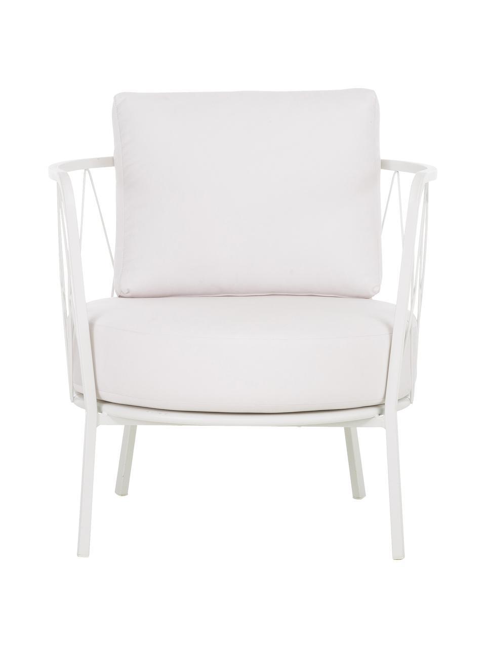 Fotel ogrodowy z tapicerowanym siedziskiem Sunderland, Stelaż: stal cynkowana galwaniczn, Biały, S 74 x G 61 cm