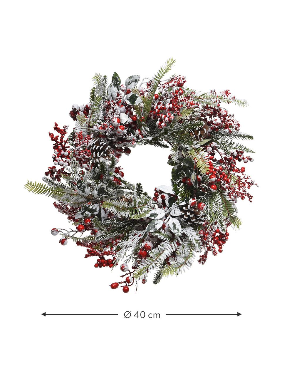 Weihnachtskranz Patricia Ø 40 cm, Kunststoff, Grün, Rot, Weiß, Ø 40 x H 15 cm