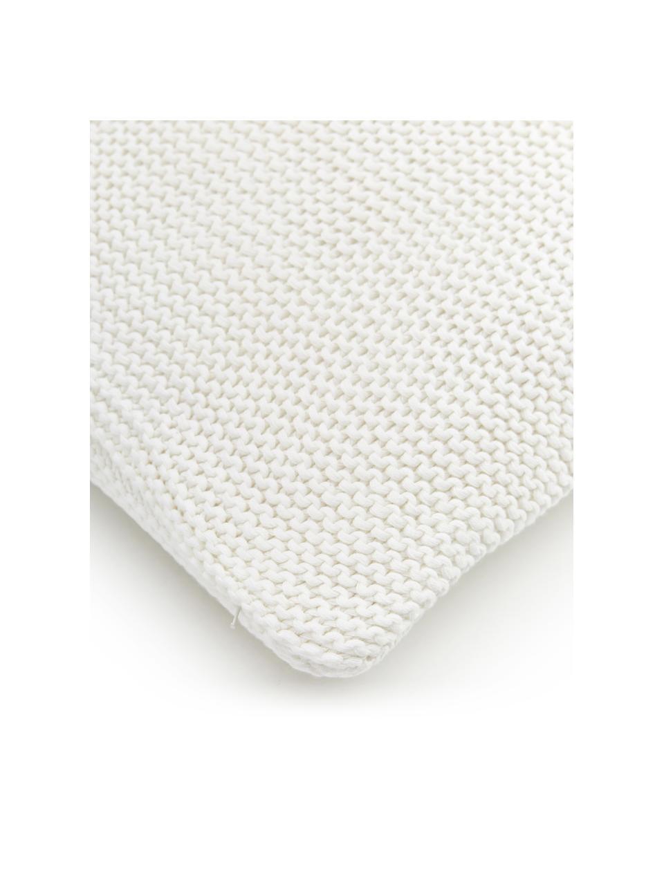Strick-Kissenhülle Adalyn aus Bio-Baumwolle in Naturweiß, 100% Bio-Baumwolle, GOTS-zertifiziert, Naturweiß, 40 x 60 cm