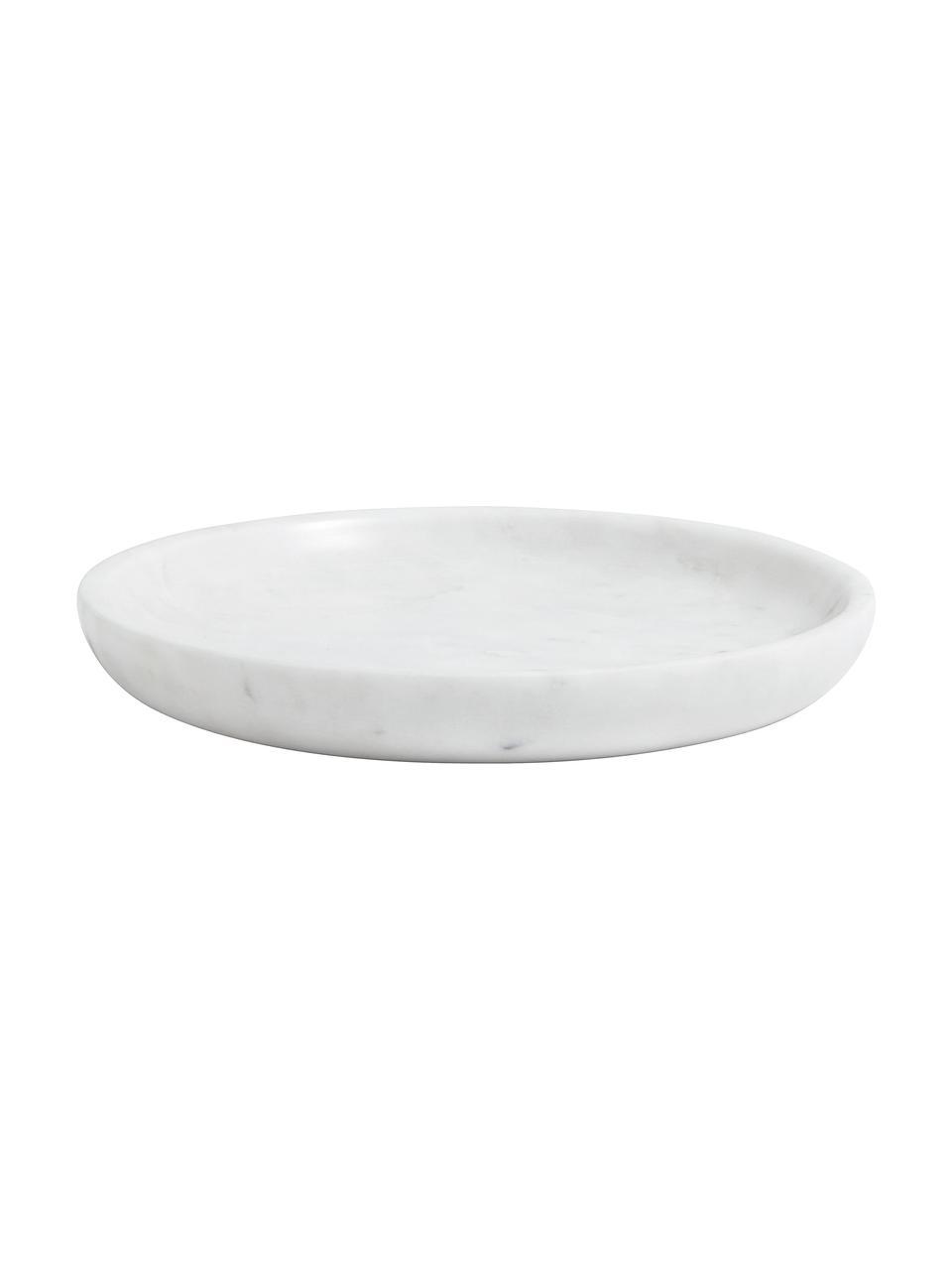 Marmor-Deko-Tablett Lorka, Marmor, Weiß, Ø 17 x H 2 cm