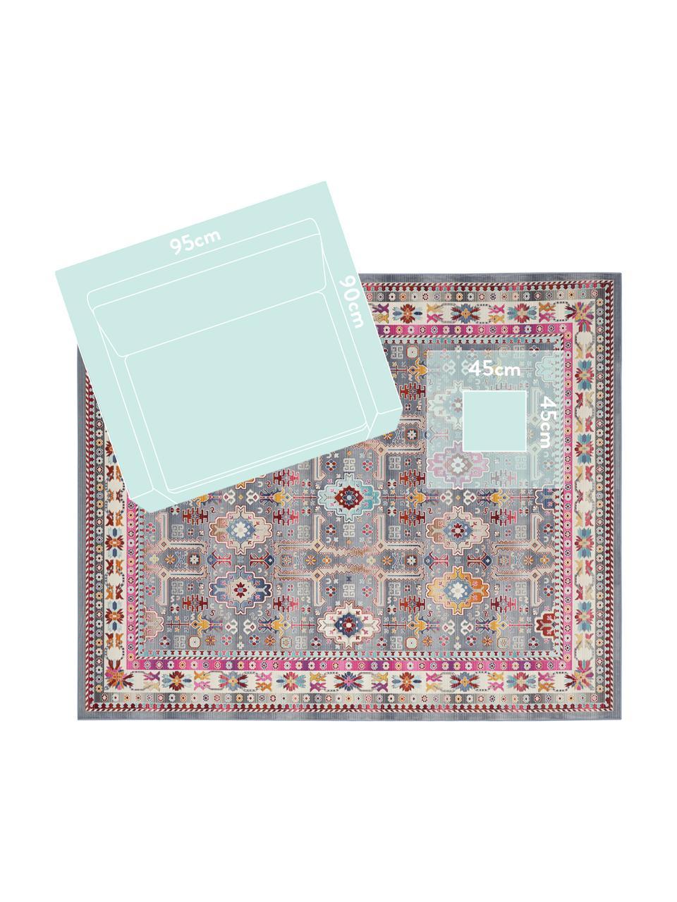 Vloerkleed Vintage Kashan met kleurrijk vintage patroon, Bovenzijde: 100% polypropyleen, Onderzijde: latex, Grijs, multicolour, B 270 x L 360 cm (Maat XL)