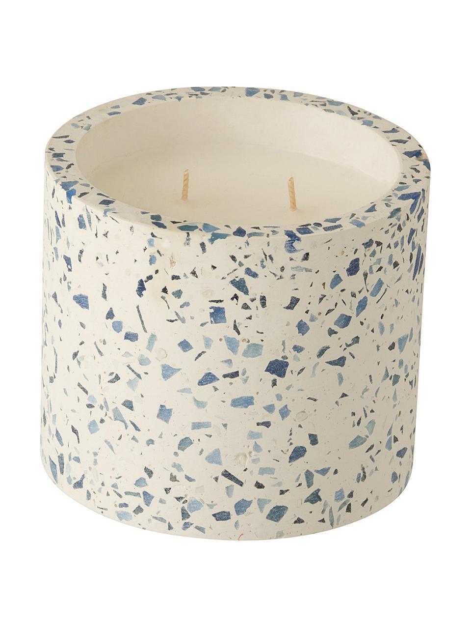 Zweidocht-Duftkerze Terrazzo, Behälter: Steingut, Cremefarben, Blau, Ø 12 x H 11 cm