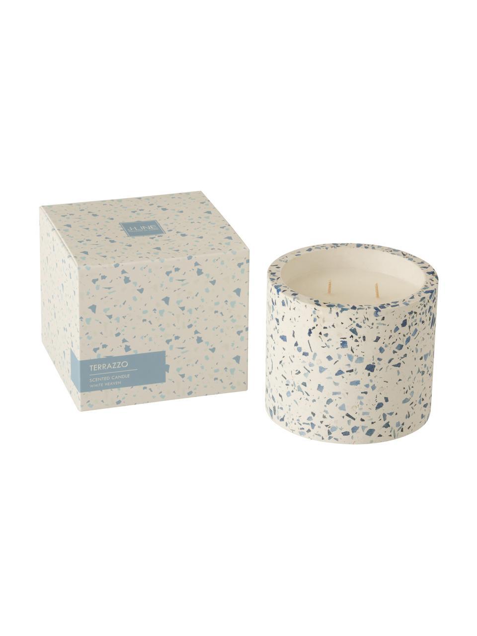 Candela profumata a due stoppini Terrazzo, Contenitore: gres, Crema, blu, Ø 12 x Alt. 11 cm