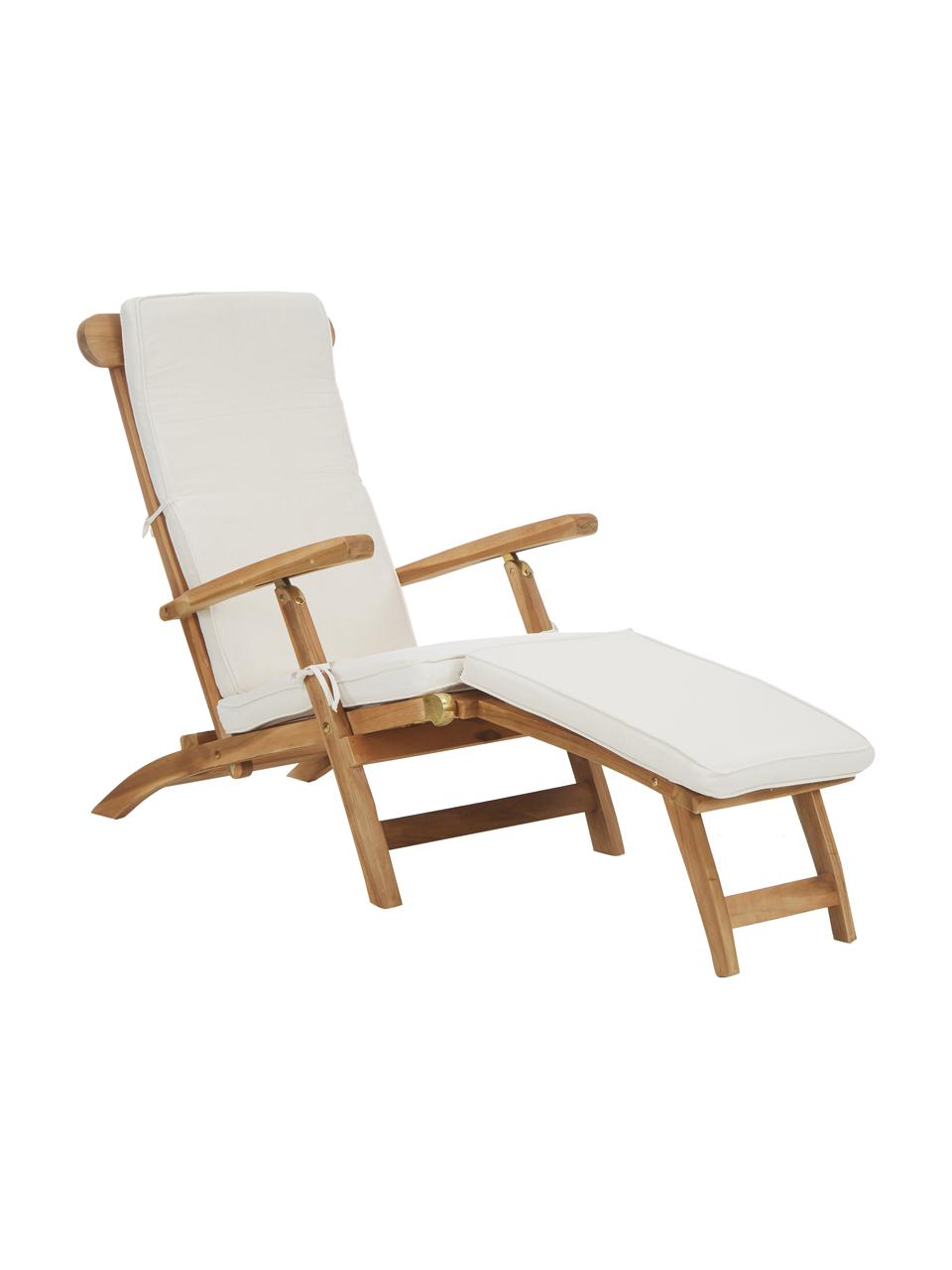 Sedia a sdraio in teak con rivestimento in cotone Arrecife, Legno di teak, bianco crema, Larg. 150 x Alt. 80 cm