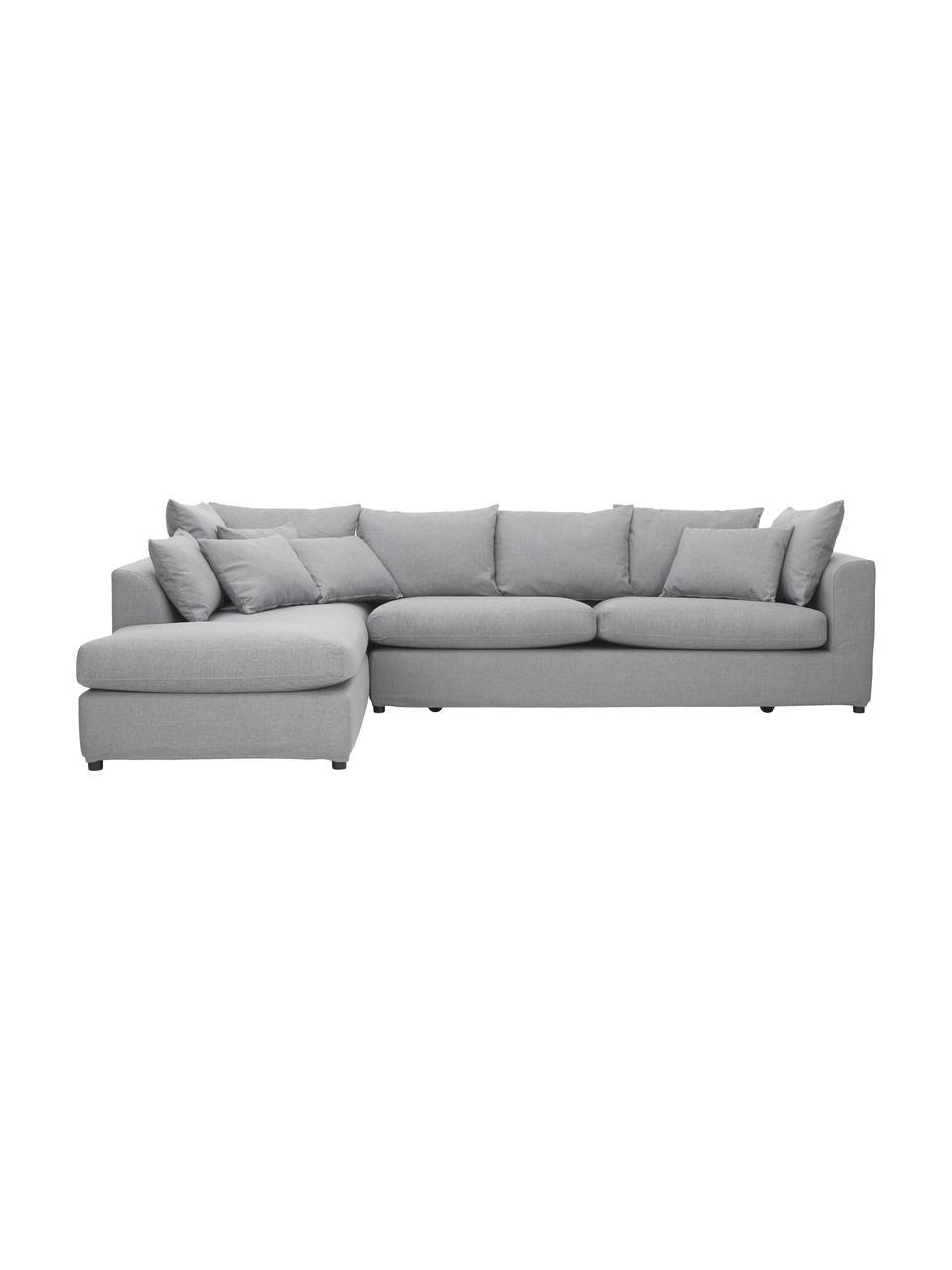 Grote hoekbank Zach in grijs, Bekleding: polypropyleen, Poten: kunststof, Geweven stof grijs, B 300 x D 213 cm