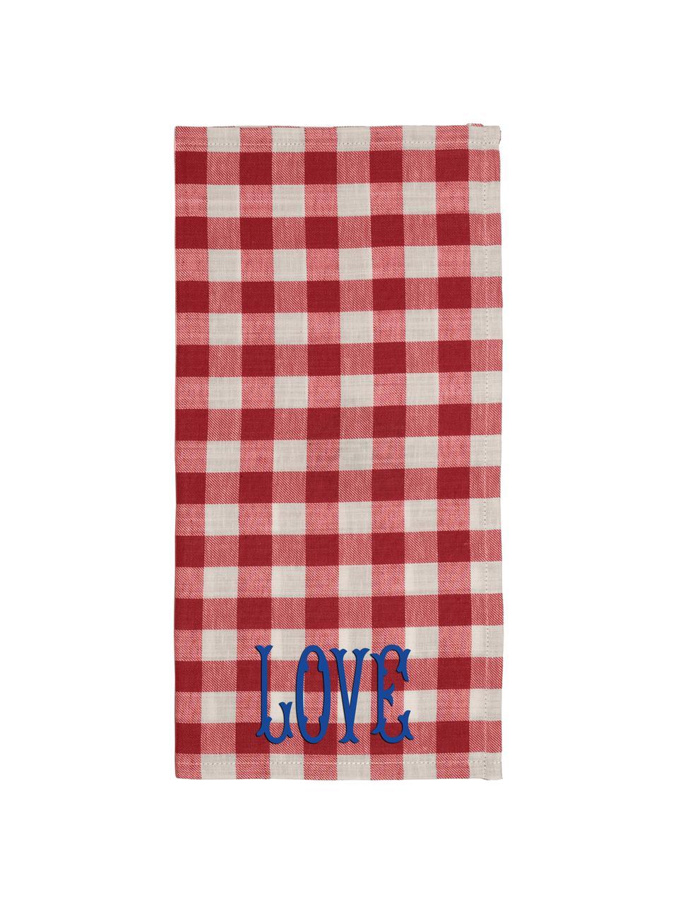 Torchon à carreaux rouges Love, 2pièces, Rouge, beige