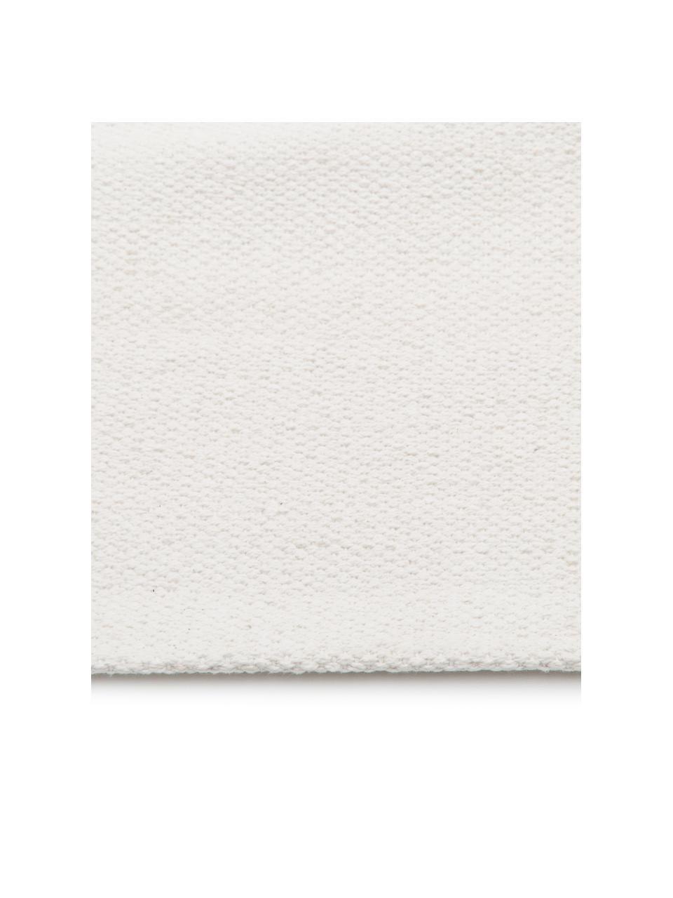 Alfombra artesanal de algodón Agneta, 100%algodón, Blanco crema, An 200 x L 300 cm(Tamaño L)