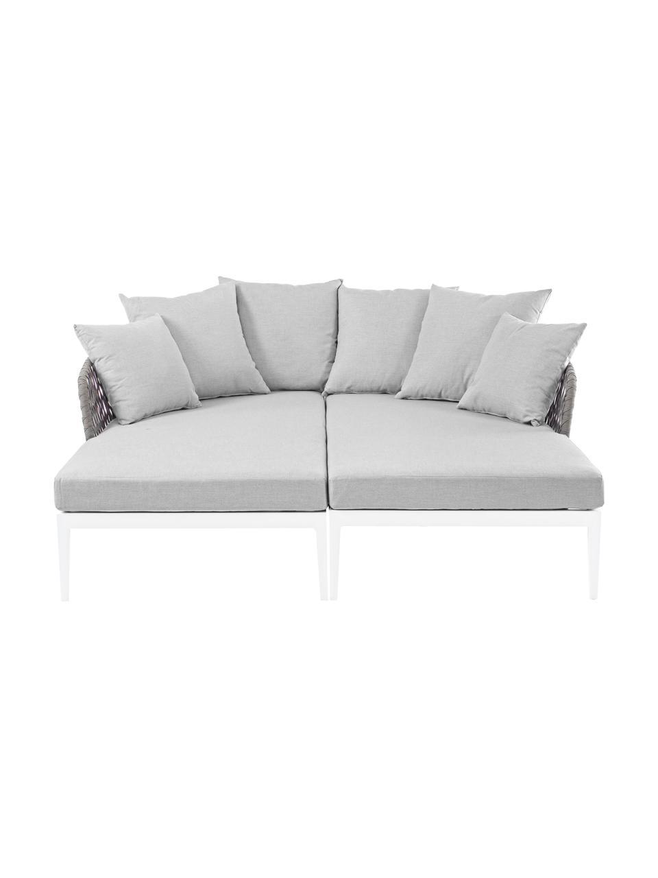 Lits de repos d'extérieur Pelican, 2 pièces, Blanc, gris