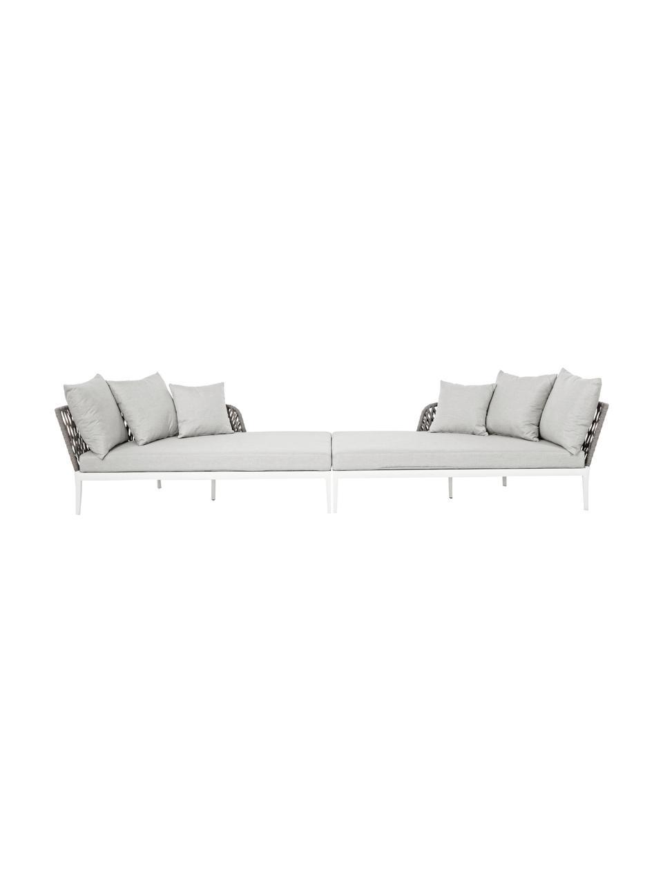 Garten-Daybed-Set Pelican, 2-tlg., Rahmen: Aluminium, pulverbeschich, Weiß, Grau, B 182 x T 179 cm