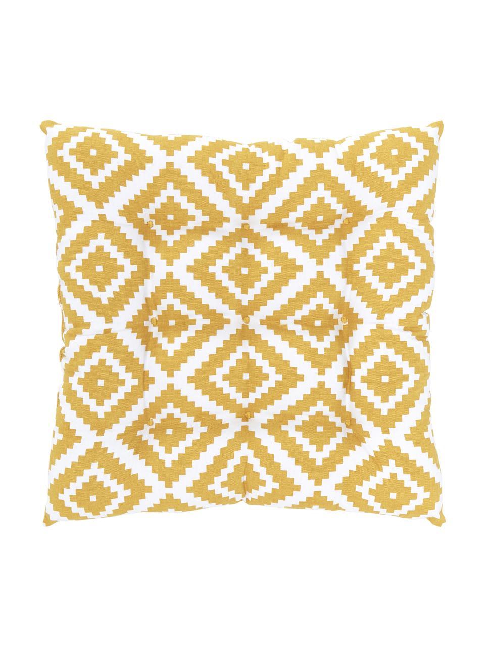 Sitzkissen Miami in Gelb/Weiss, Bezug: 100% Baumwolle, Gelb, 40 x 40 cm
