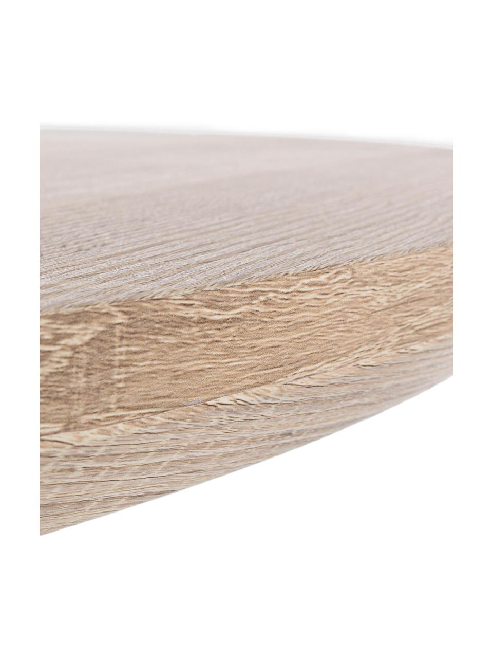 Runder Esstisch Henry mit Tischplatte in Eichenholz-Optik, Tischplatte: Mitteldichte Holzfaserpla, Beine: Metall, pulverbeschichtet, Eichenholz, Ø 134 x H 76 cm