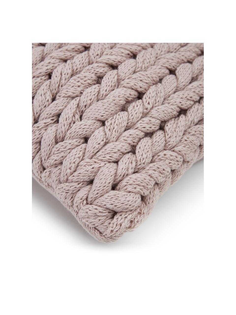 Coperta a maglia grossa fatta a mano Adyna, 100% poliacrilico, Rosa cipria, Larg. 30 x Lung. 50 cm