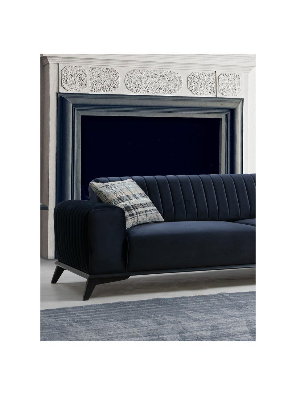 Sofa rozkładana z aksamitu Lisa (3-osobowa), Tapicerka: 100% aksamit poliestrowy, Stelaż: drewno brzozowe, płyta wi, Nogi: drewno naturalne, Niebieski, S 220 x G 92 cm
