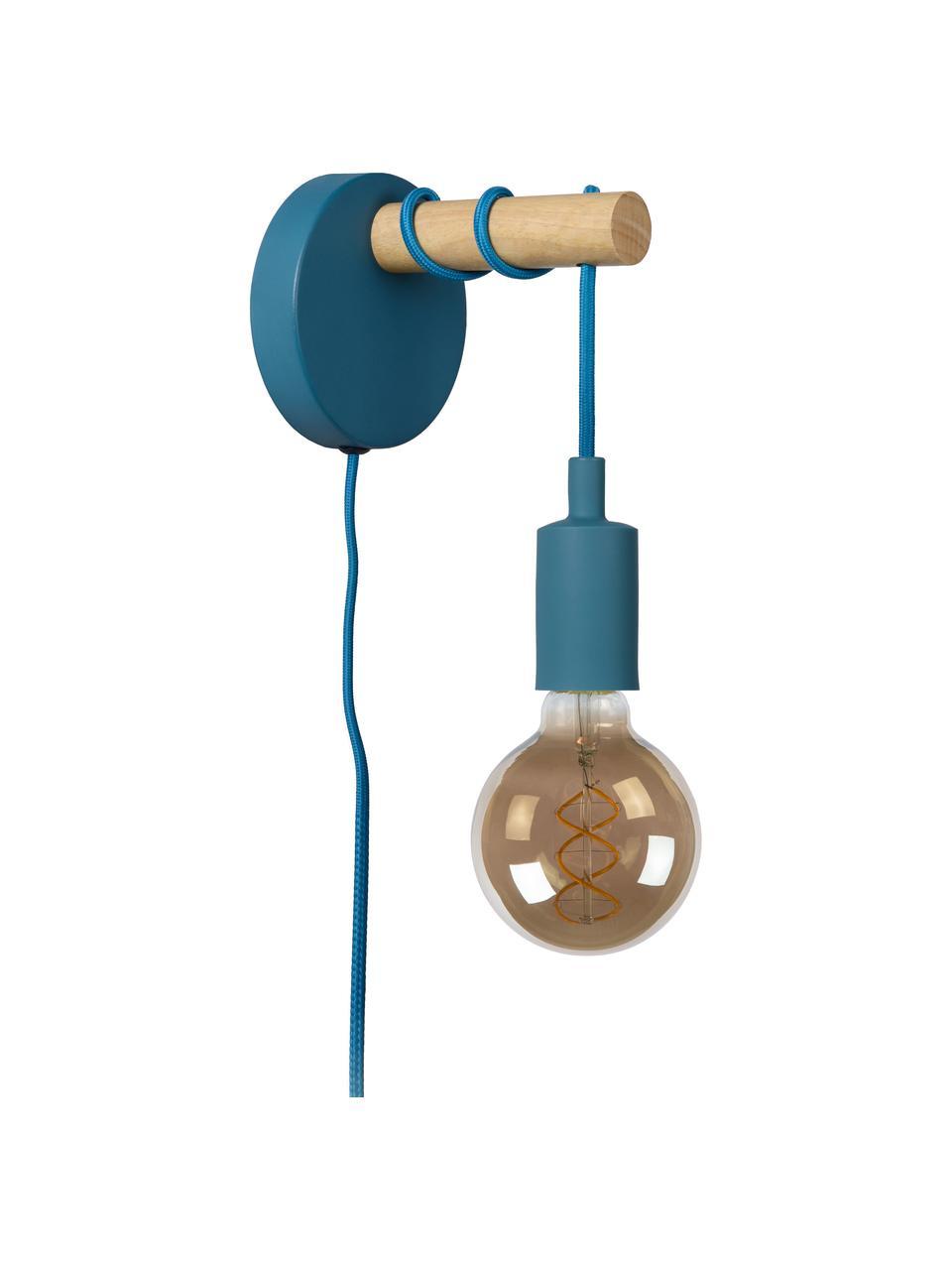 Wandleuchte Pola mit Stecker, Blau, Braun, 12 x 22 cm