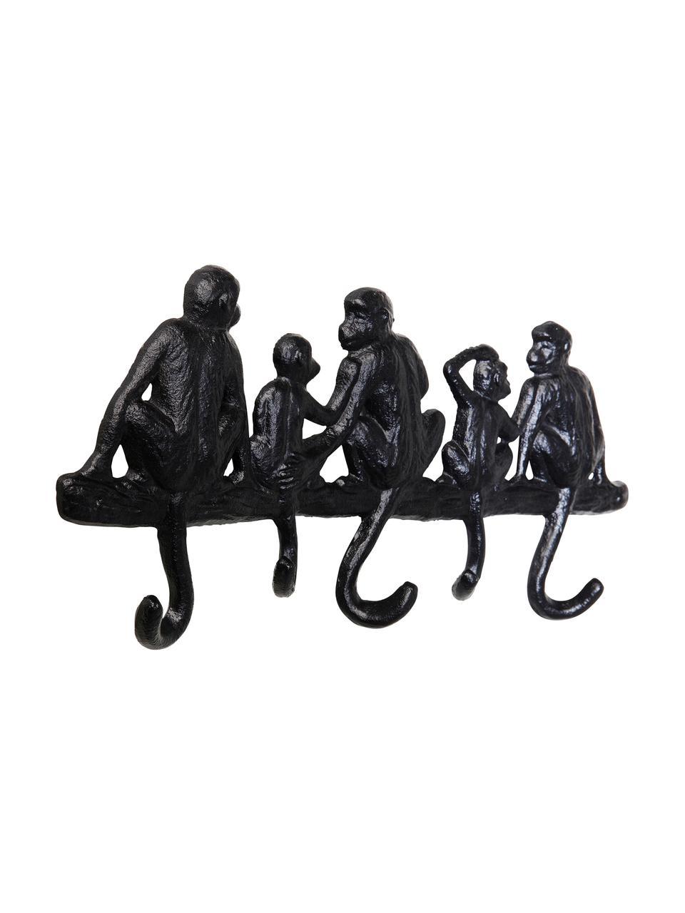 Kleine wandkapstok Monkey in zwart, Gepoedercoat metaal, Zwart, 31 x 14 cm