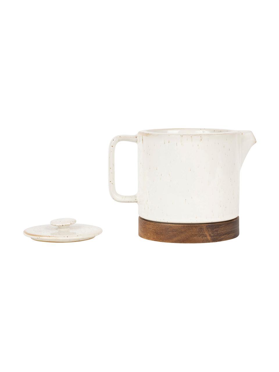 Kleine Steingut Teekanne Nordika mit Akazienholzsockel, 700 ml, Steingut, Akazienholz, Weiß, Braun, 700 ml