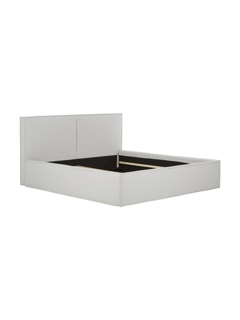 Letto imbottito in tessuto grigio chiaro Dream, Rivestimento: 100% poliestere Il rivest, Tessuto grigio chiaro, 180 x 200 cm