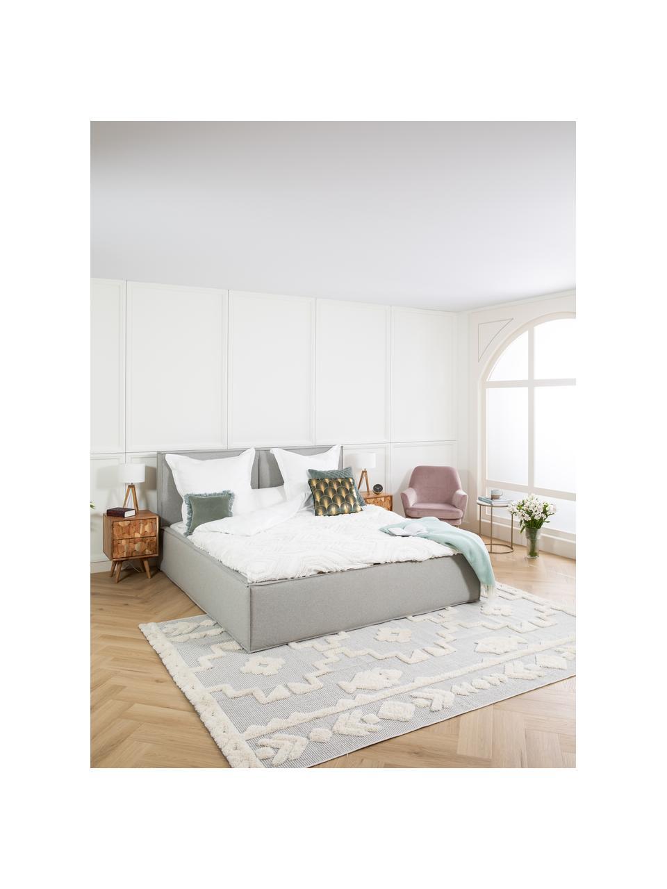 Gestoffeerd bed Dream in lichtgrijs, Frame: massief grenenhout en pla, Bekleding: 100% polyester (gestructu, Geweven stof lichtgrijs, 180 x 200 cm