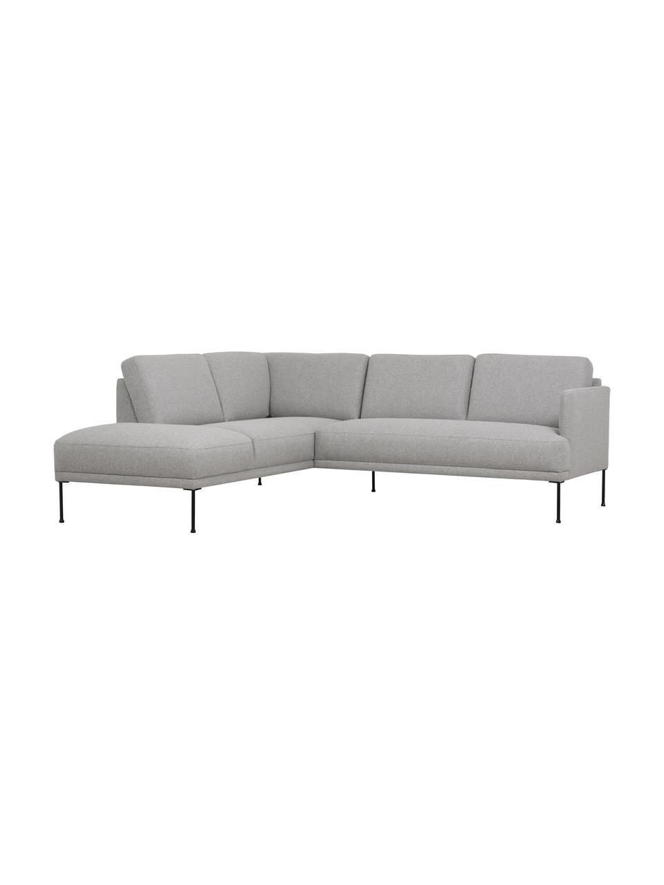 Sofa narożna z metalowymi nogami Fluente, Tapicerka: 80% poliester, 20% ramia , Nogi: metal malowany proszkowo, Jasny szary, S 221 x G 200 cm