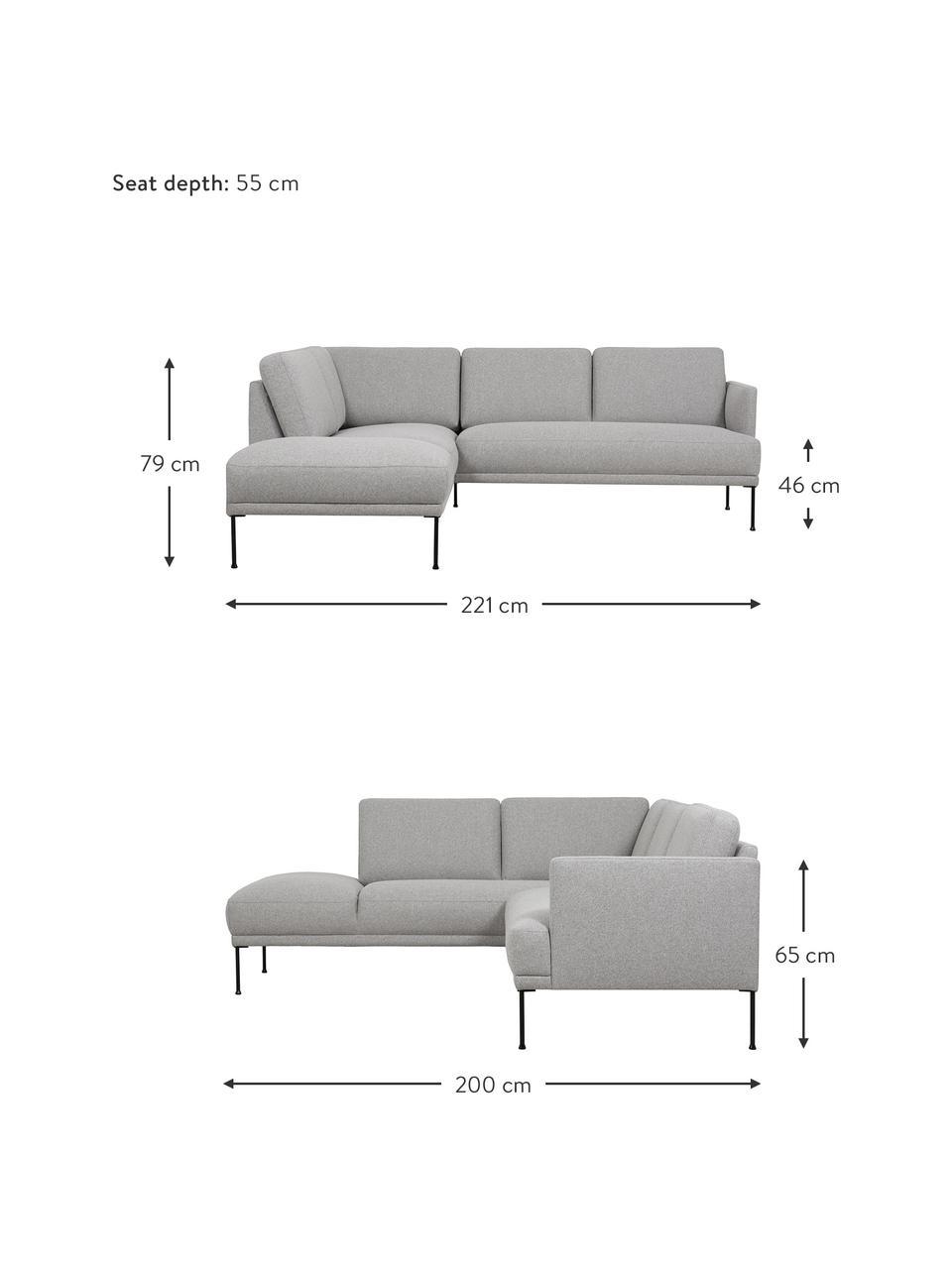 Canapé d'angle tissu gris clair pieds en métal Fluente, Tissu gris clair