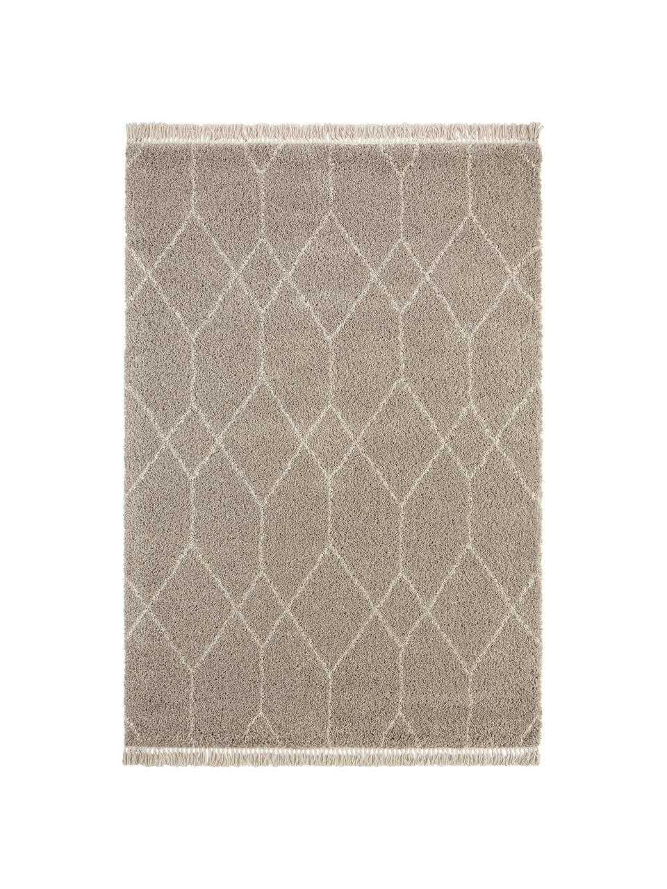 Hoogpolig vloerkleed Mila in beige/grijs met grafisch patroon, 100% polypropyleen, Beige, grijs, B 80 x L 150 cm (maat XS)