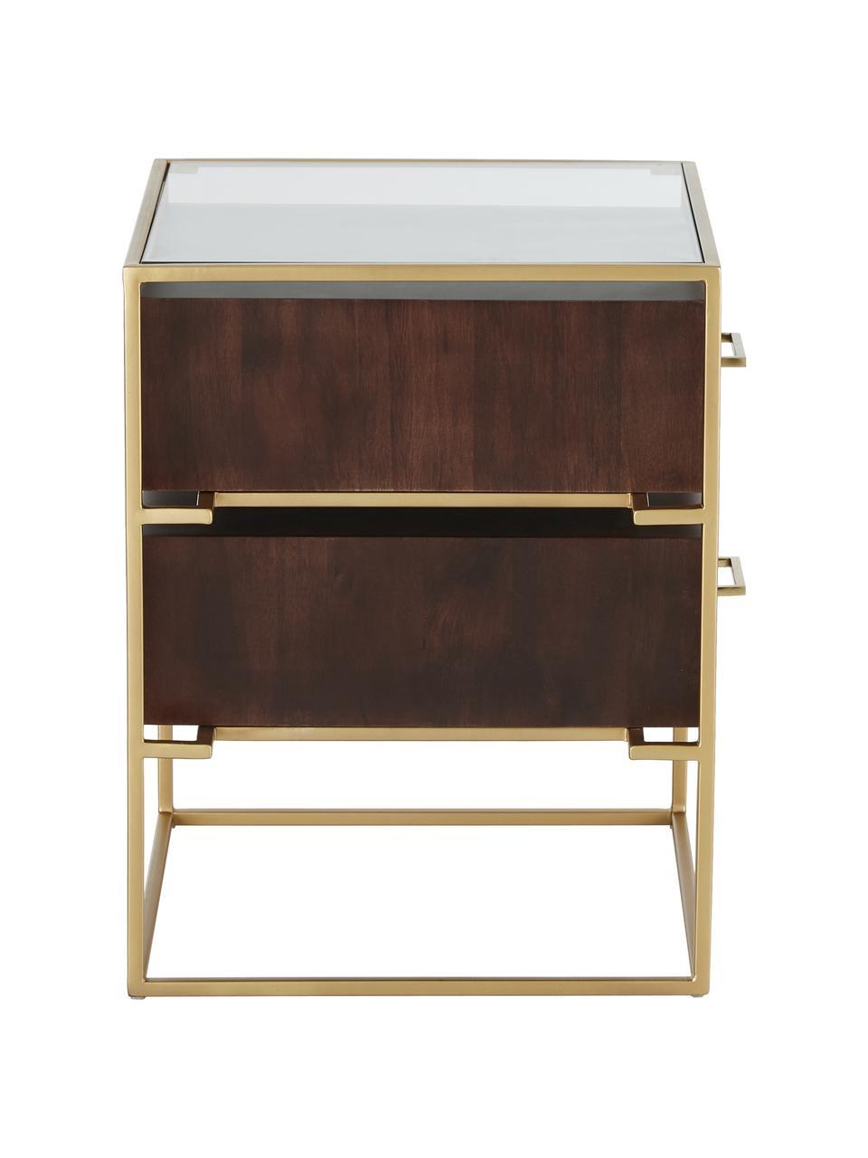 Comodino con piano in vetro Lyle, Struttura e maniglie: metallo verniciato a polv, Mensola: vetro, Marrone scuro, dorato, Larg. 45 x Alt. 58 cm