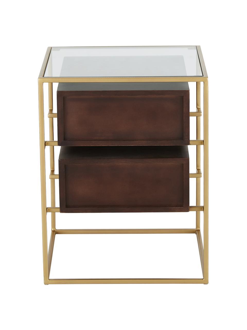 Nachtkastje Lyle met glazen blad, Plank: glas, Donker gelakt mangohout, 45 x 58 cm