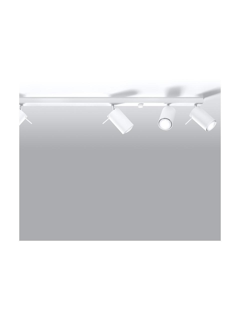 Großer Deckenstrahler Etna in Weiß, Baldachin: Stahl, lackiert, Weiß, 117 x 16 cm