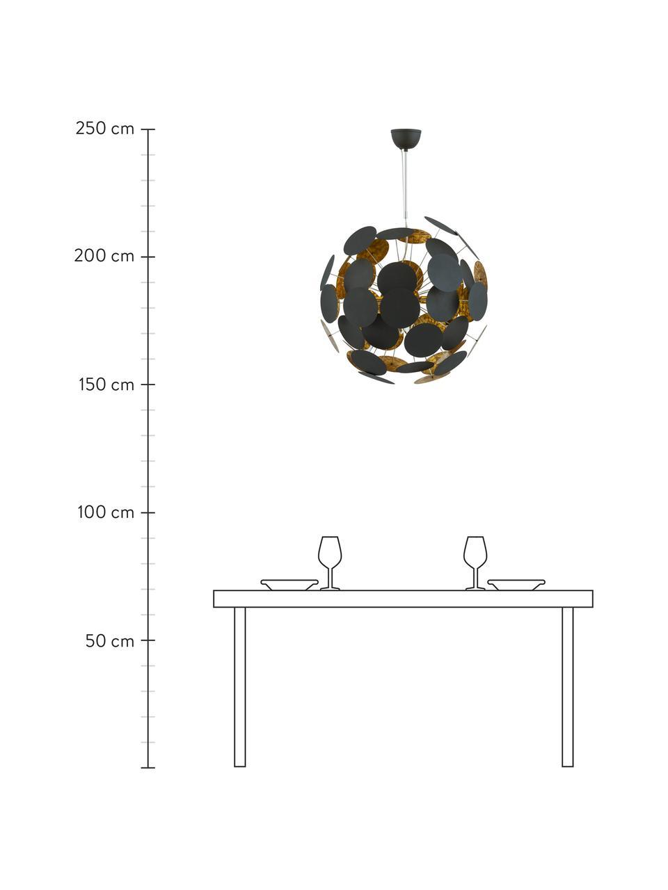 Große Pendelleuchte Planet in Schwarz-Gold, Baldachin: Metall, pulverbeschichtet, Dekor: Metall, Schwarz, Kupfer, Ø 66 cm