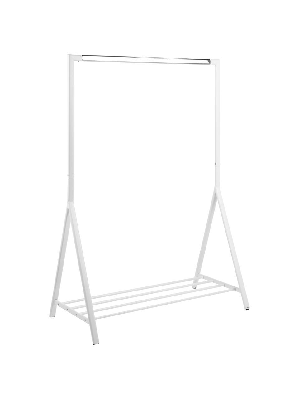 Weiße Kleiderstange Brent mit Ablagefläche, Metall, pulverbeschichtet, Weiß, B 117 x T 59 cm