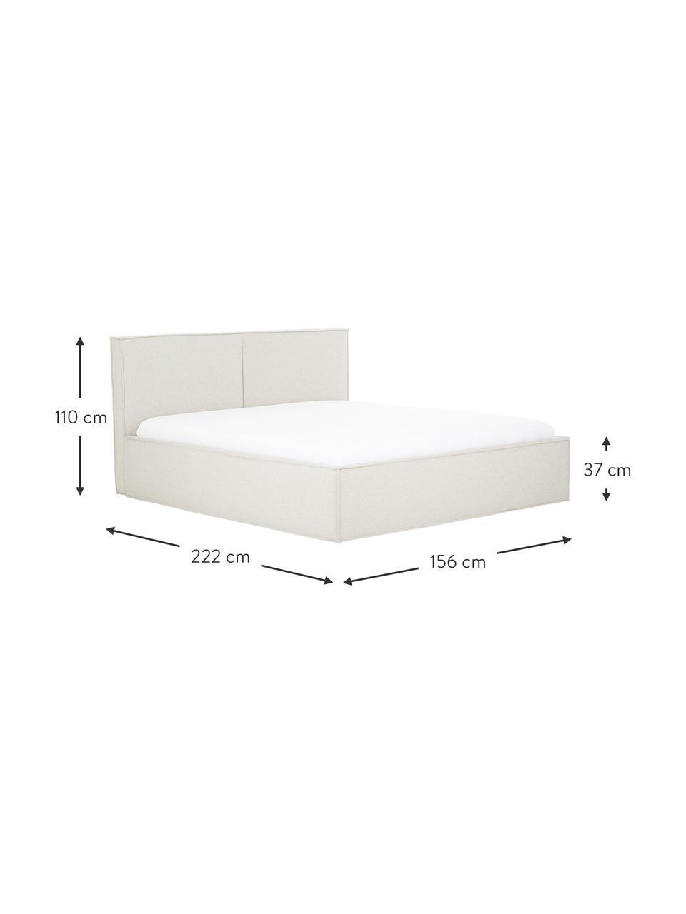 Gestoffeerd bed Dream in crèmewit, Frame: massief grenenhout en pla, Bekleding: polyester (gestructureerd, Geweven stof beige, 180 x 200 cm