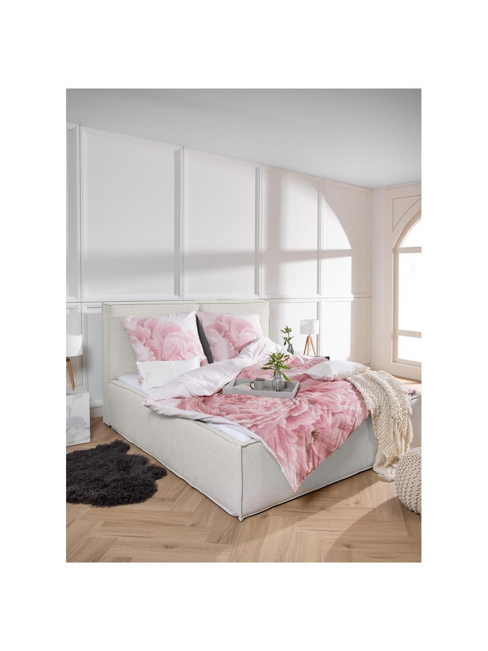 Łóżko tapicerowane Dream, Korpus: lite drewno sosnowe i pły, Tapicerka: poliester (tkanina strukt, Beżowy, S 180 x D 200 cm